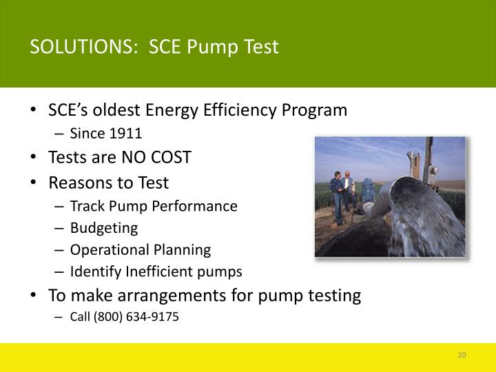 SOLUTIONS:  SCE Pump Test