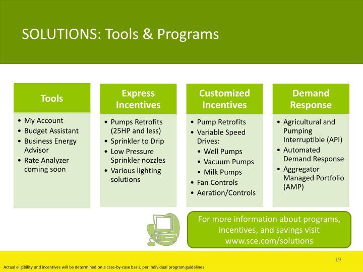 SOLUTIONS: Tools & Programs