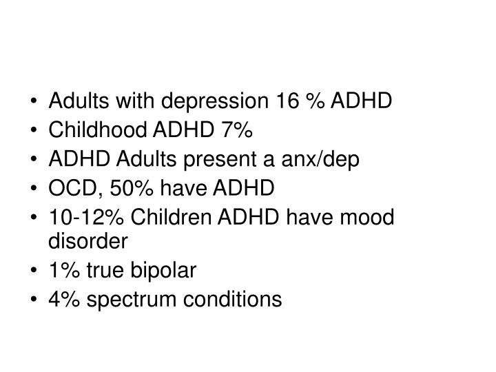 Adults with depression 16 % ADHD