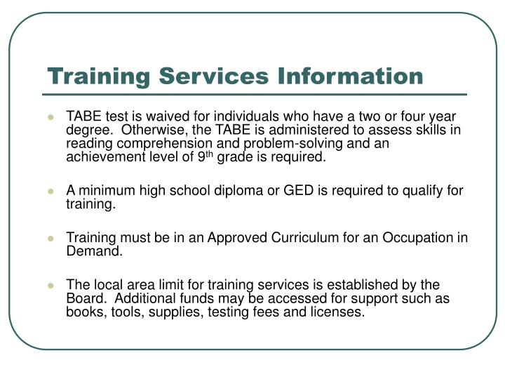 Training Services Information