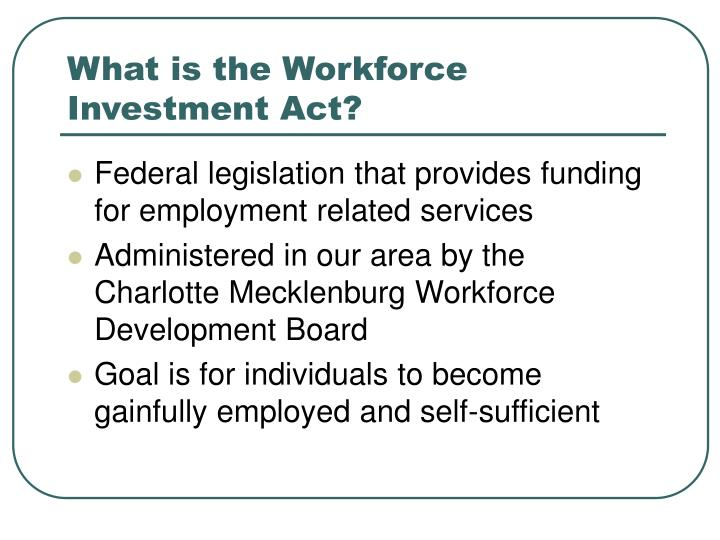 What is the Workforce Investment Act?