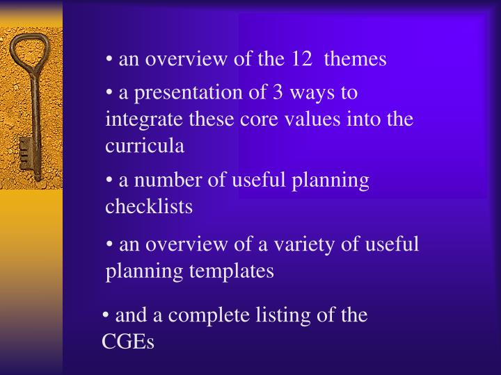 an overview of the 12  themes