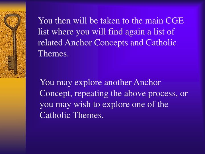 You then will be taken to the main CGE list where you will find again a list of related Anchor Concepts and Catholic Themes.