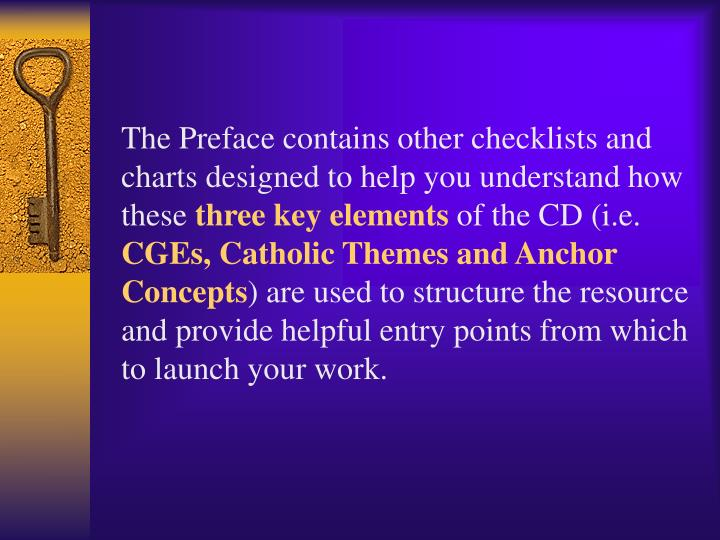 The Preface contains other checklists and charts designed to help you understand how these