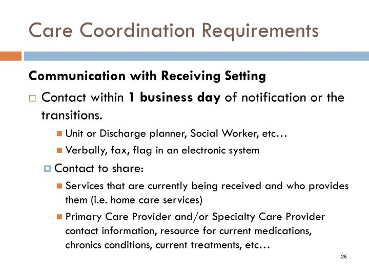 Care Coordination Requirements