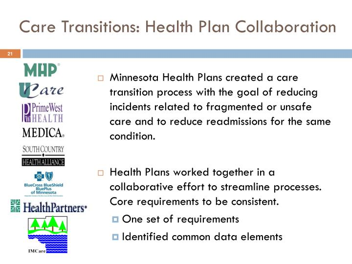 Care Transitions: Health Plan Collaboration