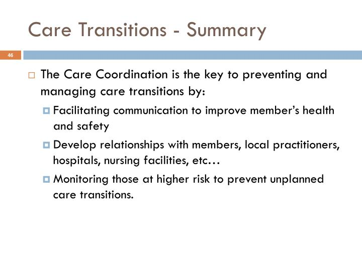 Care Transitions - Summary