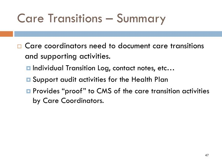 Care Transitions – Summary
