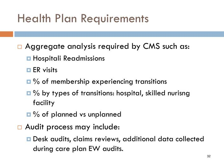 Health Plan Requirements