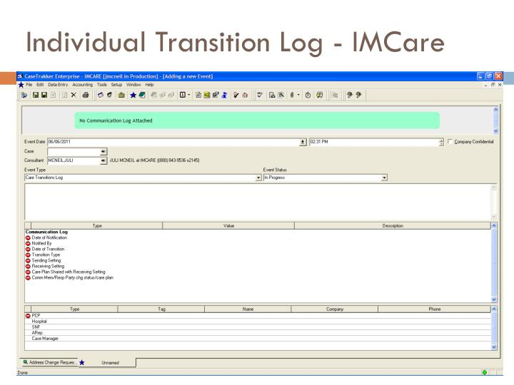 Individual Transition Log - IMCare