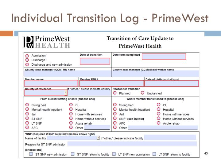 Individual Transition Log - PrimeWest