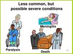 less common but possible severe conditions
