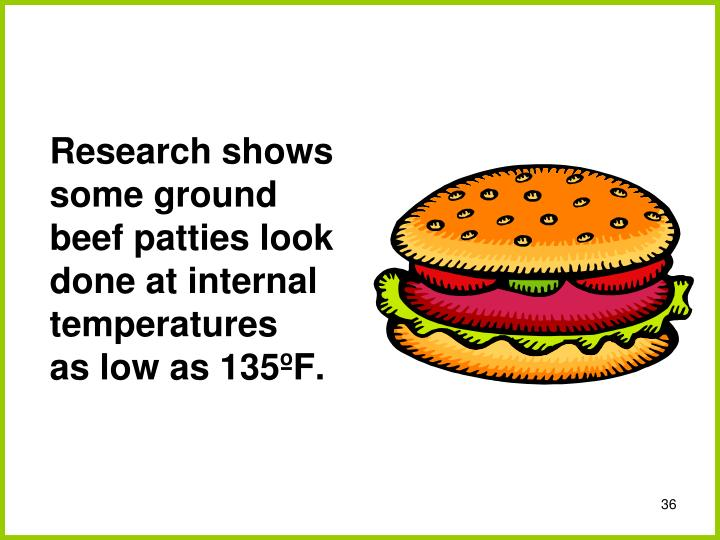 Research shows some ground beef patties look done at internal temperatures