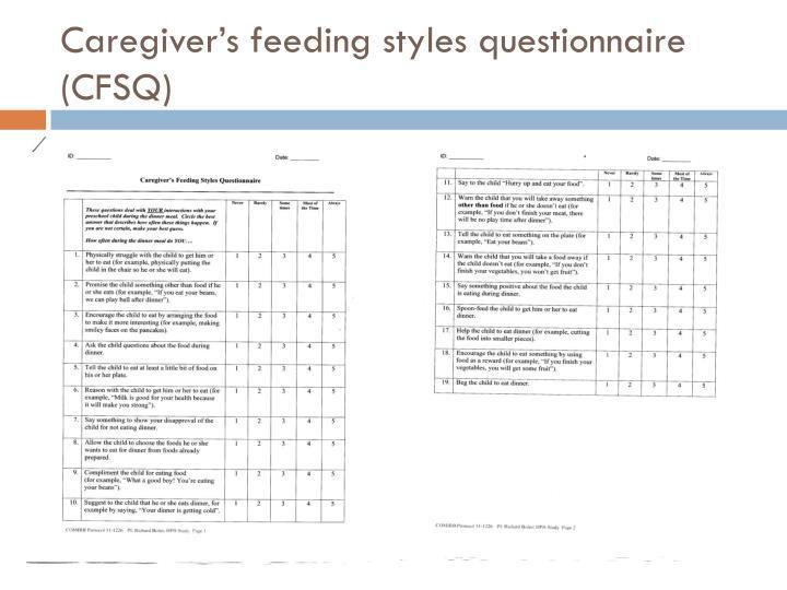 Caregiver's feeding styles questionnaire (CFSQ)