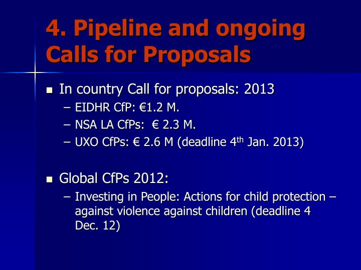 4. Pipeline and ongoing Calls for Proposals