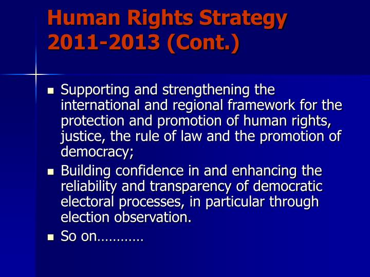 Human Rights Strategy 2011-2013 (Cont.)