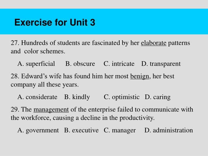 Exercise for Unit 3