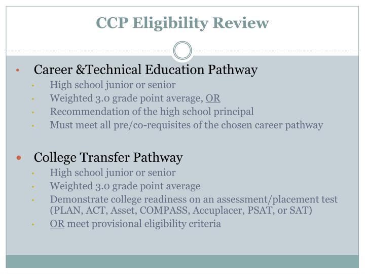 CCP Eligibility Review