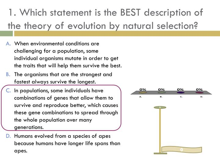 1. Which statement is the BEST description of the theory of evolution by natural selection?