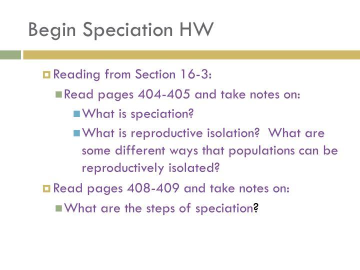 Begin Speciation HW