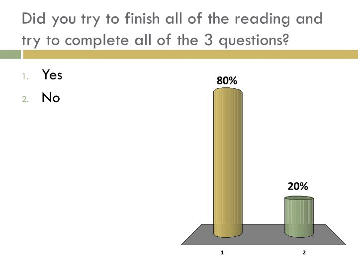 Did you try to finish all of the reading and try to complete all of the 3 questions?
