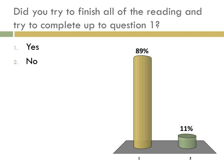 Did you try to finish all of the reading and try to complete up to question 1?