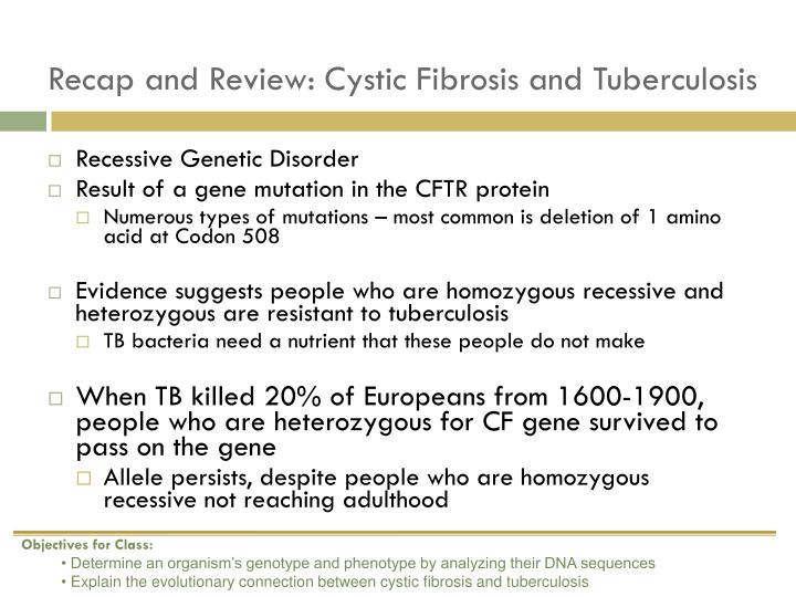 Recap and Review: Cystic Fibrosis and Tuberculosis