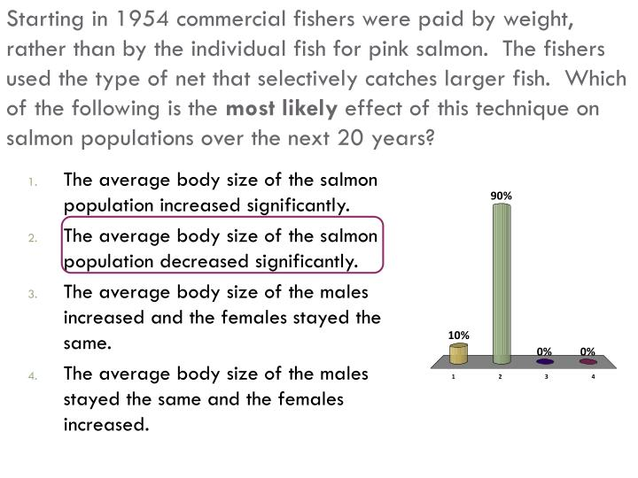 Starting in 1954 commercial fishers were paid by weight, rather than by the individual fish for pink salmon.  The fishers used the type of net that selectively catches larger fish.  Which of the following is the