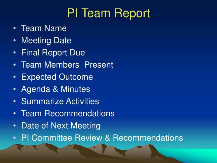 PI Team Report