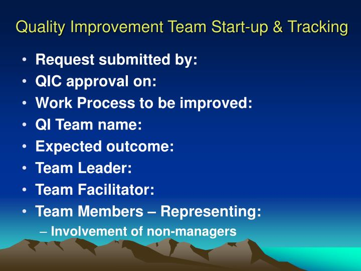 Quality Improvement Team Start-up & Tracking
