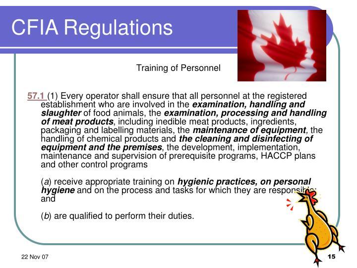 CFIA Regulations