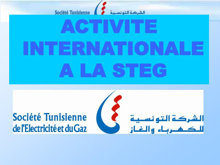 ACTIVITE INTERNATIONALE A LA STEG