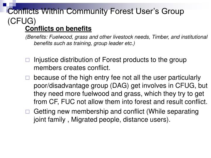 Conflicts Within Community Forest User's Group (CFUG)