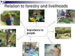 relation to forestry and livelihoods