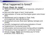 what happened to forest from then to now