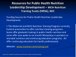 resources for public health nutrition leadership development mch nutrition training funds hrsa wic