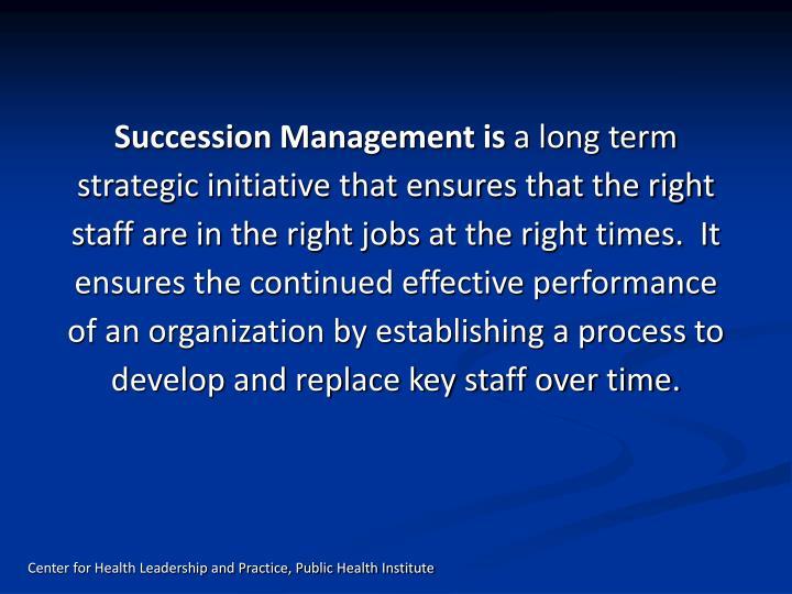 Succession Management is