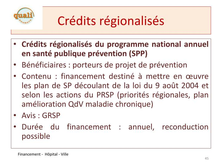Crédits régionalisés