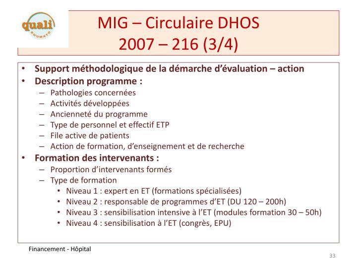 MIG – Circulaire DHOS