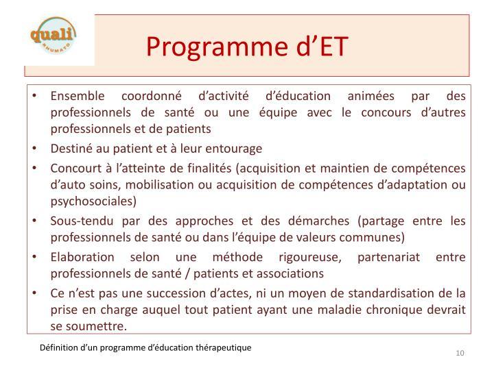 Programme d'ET