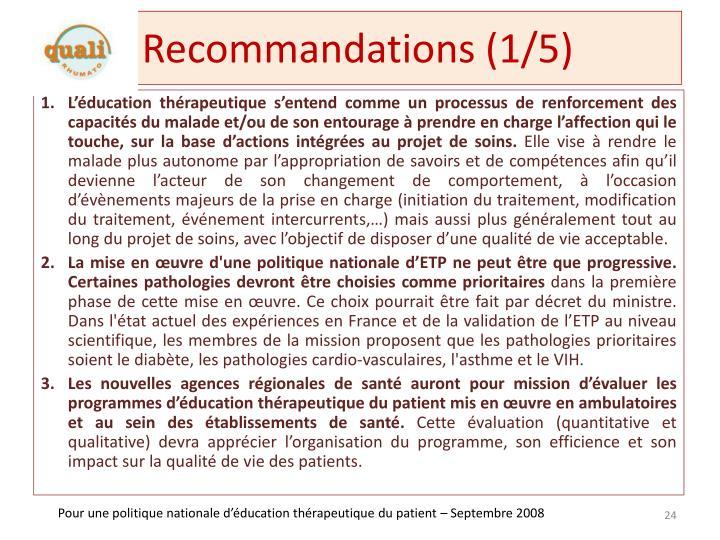 Recommandations (1/5)