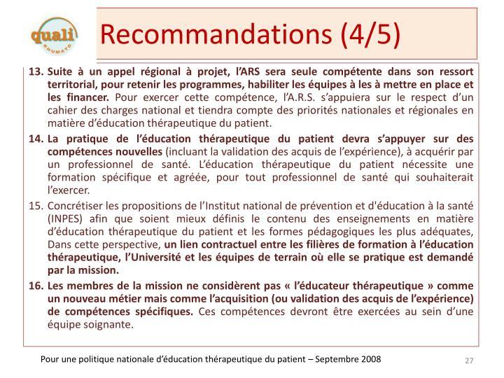 Recommandations (4/5)