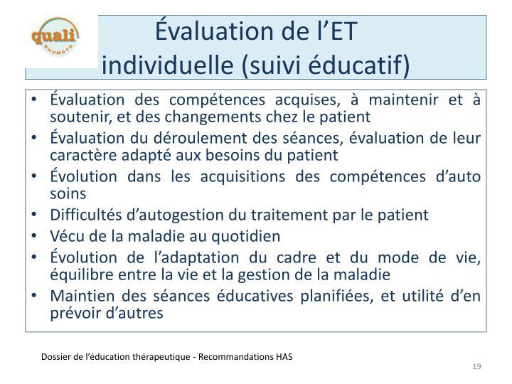 Évaluation de l'ET