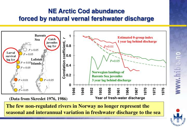 Ne arctic cod abundance forced by natural vernal fershwater discharge