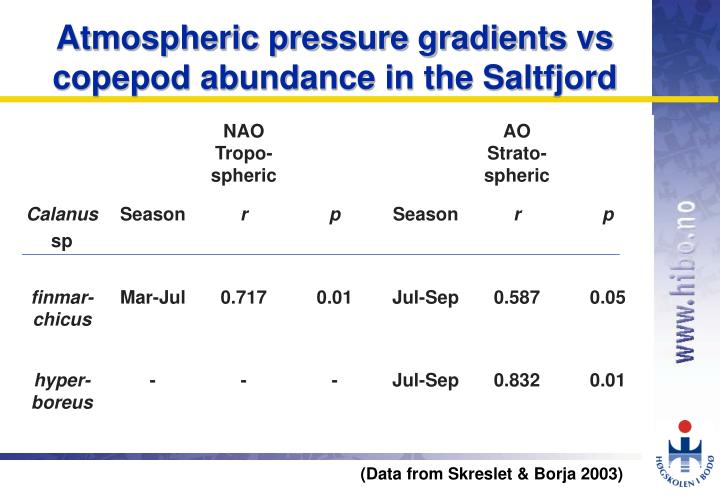Atmospheric pressure gradients vs copepod abundance in the Saltfjord