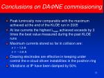 conclusions on da f ne commissioning