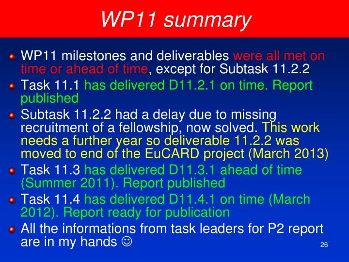 WP11 summary
