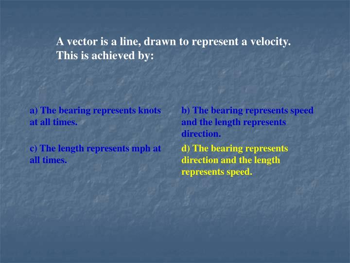 A vector is a line, drawn to represent a velocity. This is achieved by: