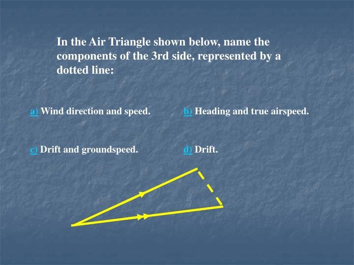 In the Air Triangle shown below, name the components of the 3rd side, represented by a dotted line: