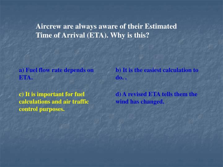 Aircrew are always aware of their Estimated Time of Arrival (ETA). Why is this?